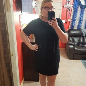 Nwt forever 21 3x lace up t shirt dress black